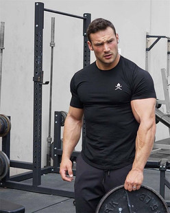 2018 summer muscle brothers sports T-shirt male brothers running round neck short-sleeved tights training fitness clothes