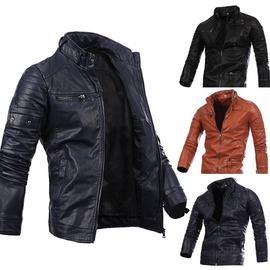 hot sale explosion men's stand collar zipper PU leather men's new long-sleeved leather jacket