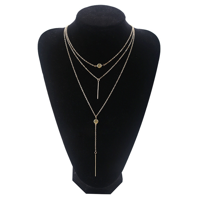 Golden Hanger Alloy Multilayer Necklace NHPF151529