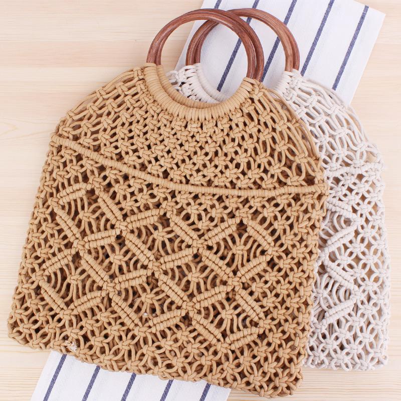 一件代发新款纯色手提编织包潮女森系草编包度手工棉绳网兜沙滩包
