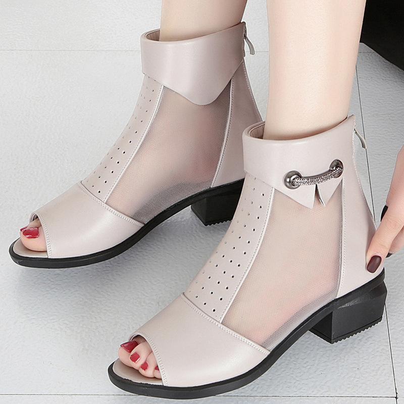 春夏网靴女单鞋真皮网纱凉鞋中跟女士鱼嘴凉皮鞋粗跟大码中年凉靴
