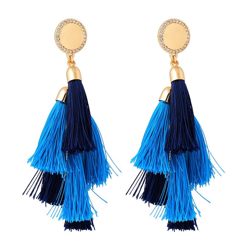 Alloy Fashion Tassel earring  Blue1 NHQD5569Blue1