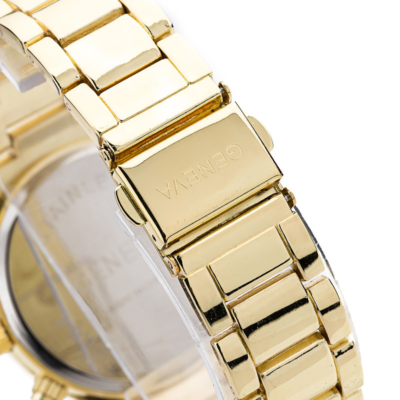Watches Women Men Faux Chronograph Quartz Plated Classic Round Crystals Watch relogio masculino gold one size 6