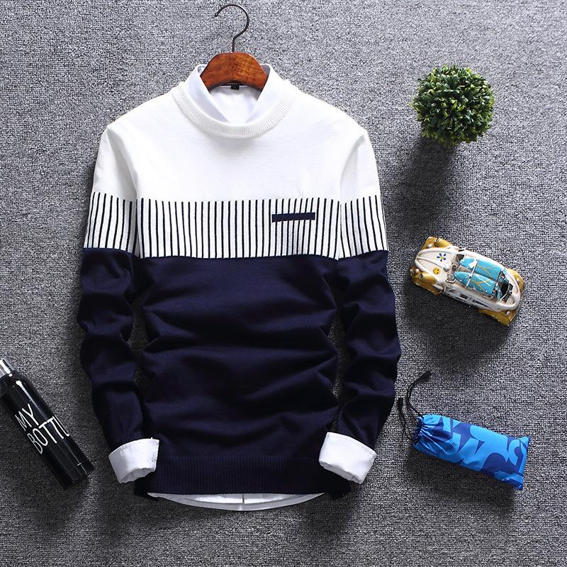 跨境外贸速卖通毛衣男秋季韩版潮流毛衫圆领男式针织衫休闲毛线衣