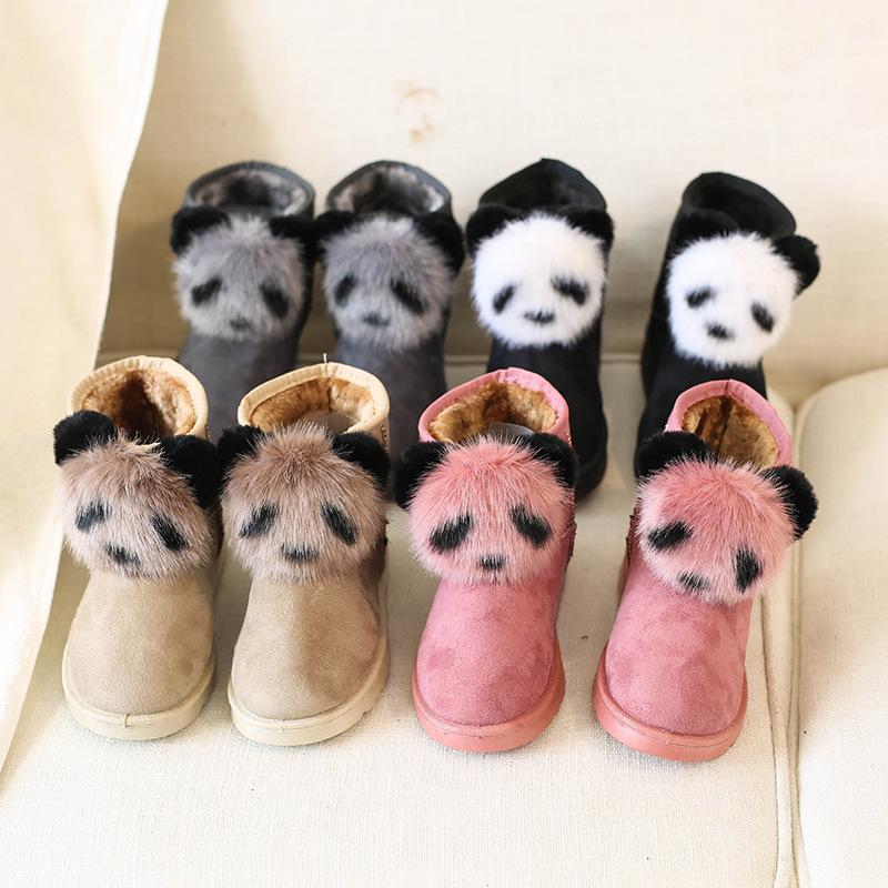 雪地靴女短靴加绒新款女靴2021冬款韩版棉鞋毛球熊猫短筒靴子