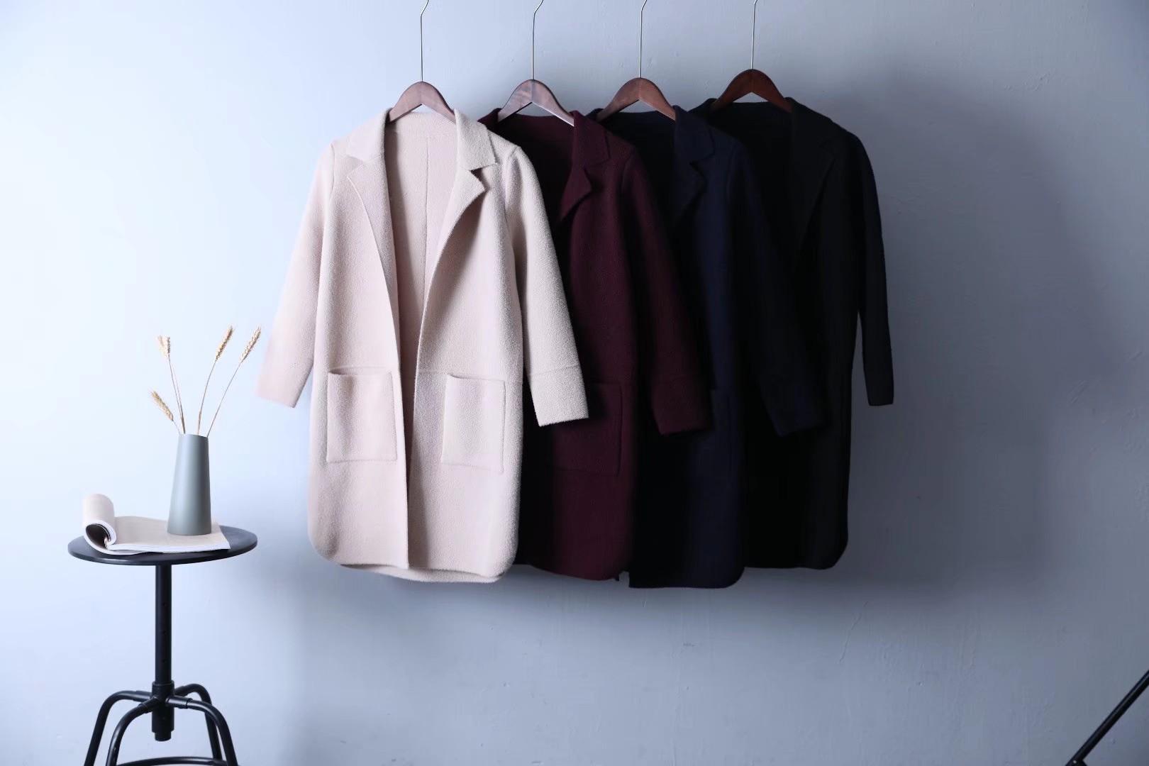 时尚均码女装翻领纯色毛呢大衣中青年女装中长款仿双面呢外套