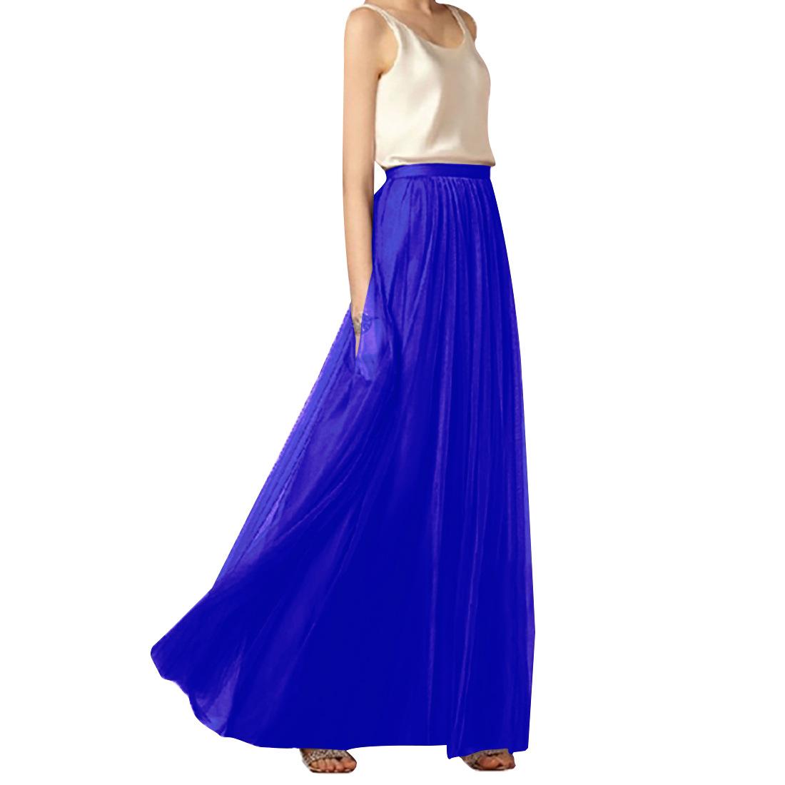 外贸女装修身半身裙气质长裙加密纯色A字纱裙欧美定制伴娘裙长款