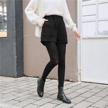 高腰毛呢短褲女2019秋冬新款黑色闊腿顯瘦加厚外穿寬松休閑靴褲