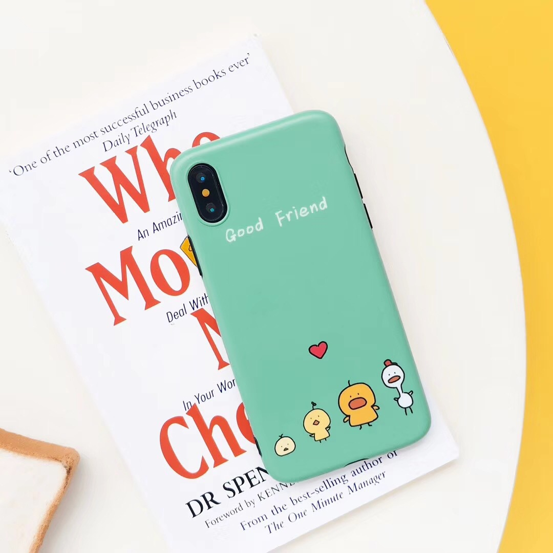 Cute cartoon chicken friend iPhoneX mobile phone shell Apple 8plus/7/6s personality all inclusive green anti-fall