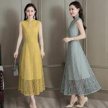 2018夏装新款韩国无袖名媛中长款气质显瘦蕾丝连衣裙