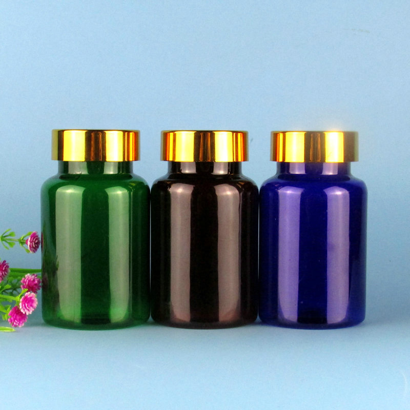 120ml塑料瓶 药瓶胶囊瓶保健品瓶子PET聚酯瓶 亮金盖茶色绿色蓝色