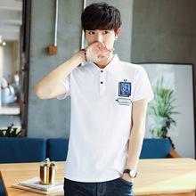 2018夏季潮牌新款印花時尚修身POLO衫韓版翻領男士短袖T恤保羅衫