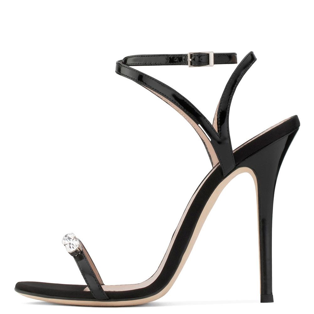 欧美女士黑色一字带水钻超高跟凉鞋晚宴鞋成都时装女鞋跨境货源