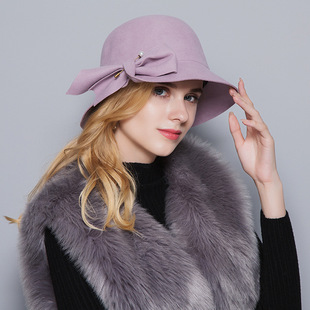 Autumn/winter 2021 new top hat European and American British style bow pearl pin retro wool solid color basin hat women
