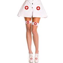 黑色 白色 中網 女士情趣長筒 女護士襪 外貿性感網眼高筒網襪子