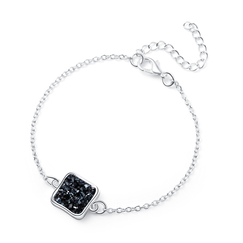 new fashion silver square resin natural stone crystal alloy bracelet  NHAN252596
