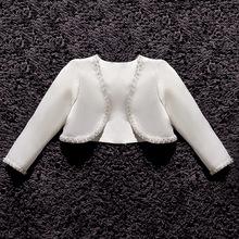 中大童女童婚纱礼服裙长袖外套 儿童手工钉珠搭配公主?#21476;?#32937; 一件