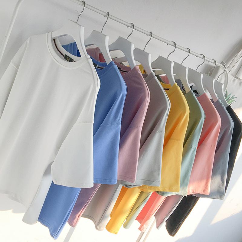 男士短袖T恤打底衫上衣服夏季圆领半袖纯白色五分袖宽松七分中袖