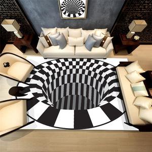 北欧简约地毯3D印花卧室办公室水晶绒地垫客厅茶几垫一件代发可定