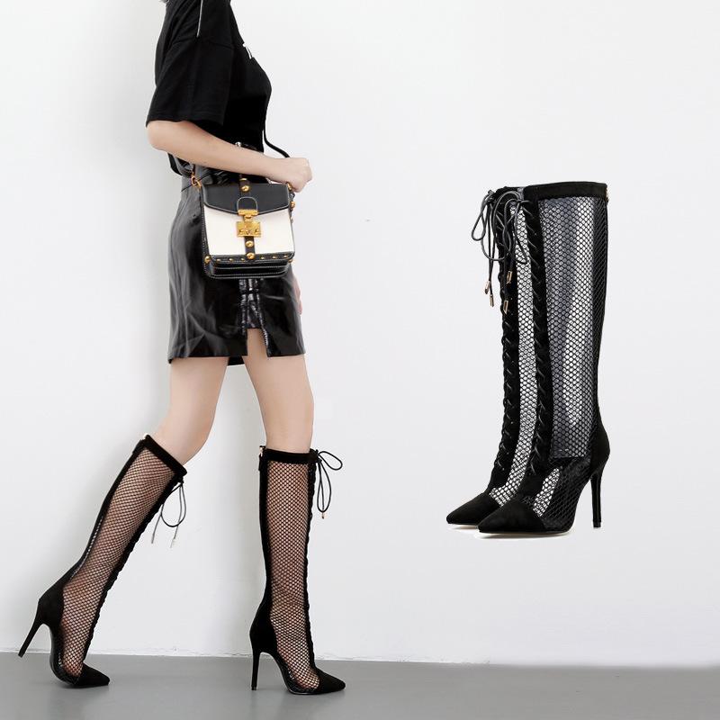 2018欧美新款镂空长筒靴性感绑带细高跟凉靴尖头网布女鞋bly891-6