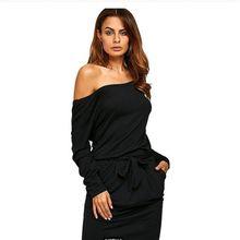 外贸原单女装   Ebay露肩欧美时尚长袖宽松腰带性感连衣裙