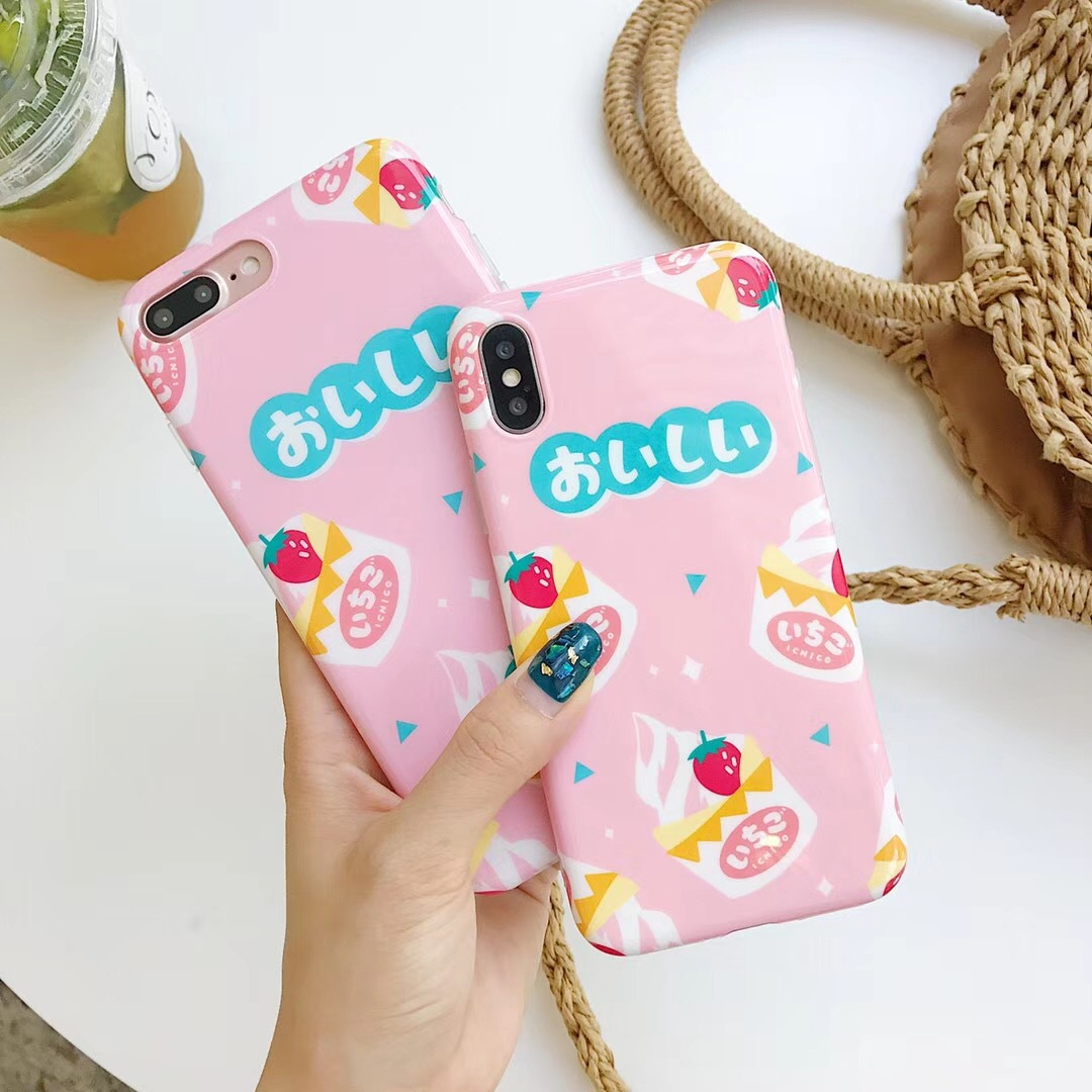 Summer small fresh strawberry ice cream apple x mobile phone shell iPhone8 simple 7plus soft silicone 6 anti-fall female