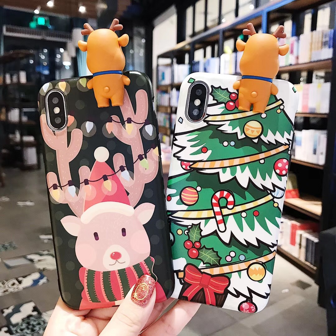 Applicable Apple Xsmax 8plus New Christmas Creative Snowman Elk 趴趴 Couple iPhone7 Mobile Shell