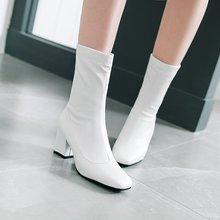 32-48欧美秋冬显瘦方头弹力美腿靴粗高跟套筒瘦瘦女靴中筒靴3223