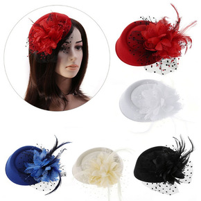 Party hats Fedoras hats for women headdress creative mother hat headdress net gauze Flower Hat wedding dress accessories banquet hat