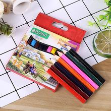 彩色铅笔套装 儿童文具六角12色木质短彩铅环保绘画铅笔厂家批发