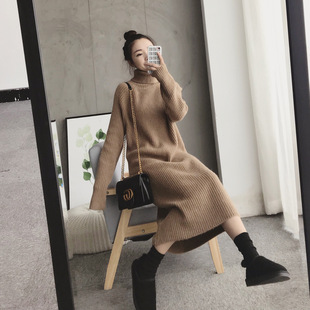New Korean temperament loose thick sweater dress 2019 autumn and winter mid-length high-neck bottoming sweater women's clothing