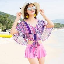 女士泳衣泡温泉显瘦性感韩国比基尼三件套裙式平角泳衣女2019新款