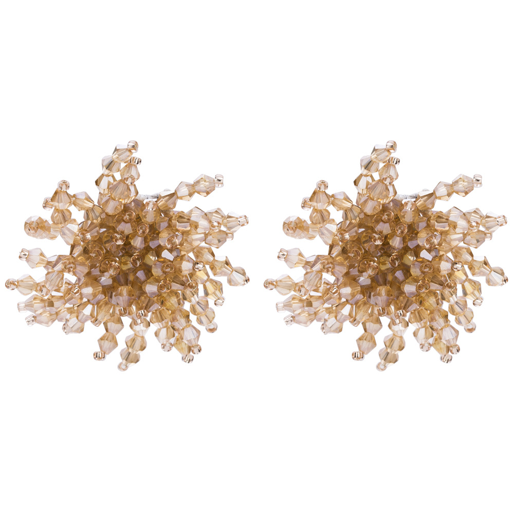 Imitated crystal&CZ Fashion Flowers earring  (red) NHJE1509-red