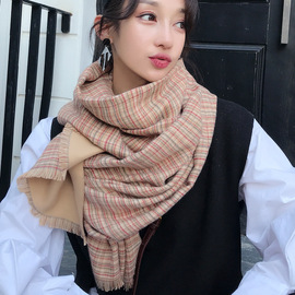 Scarf women's autumn and winter imitation cashmere plaid shawl wild small fresh student long section warm thickened scarf
