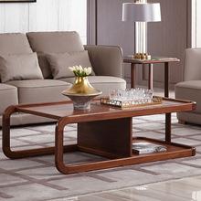 意式轻奢茶几样板房大理石胡桃木家具长方形双层实木茶台小茶桌