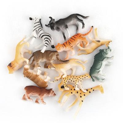 Sản phẩm xuyên quốc gia 12 động vật nhỏ mô hình thế giới búp bê đồ chơi trang trí tĩnh silicone búp bê động vật rừng