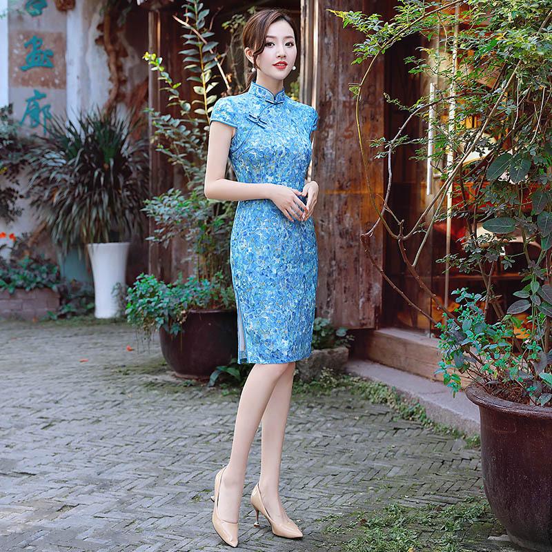2018新款改良纯麻旗袍 舒适修身中旗袍优雅端庄短袖苎麻旗袍