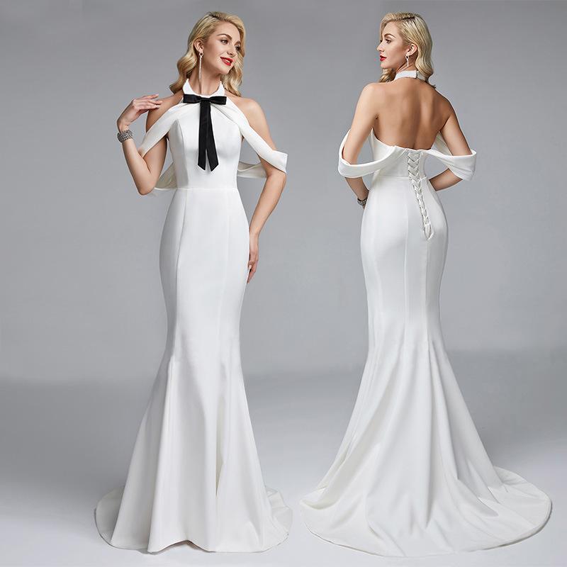 2020跨境新款白色蝴蝶结装饰女装晚礼服 亚马逊热卖爆款连衣裙
