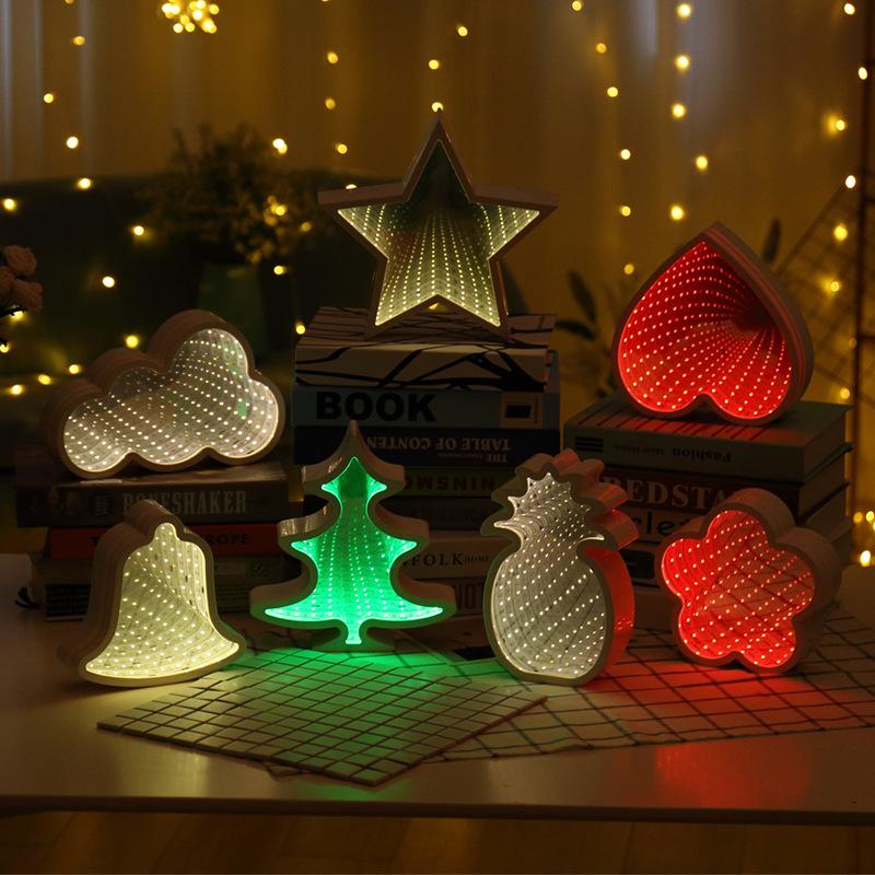 跨境爆款隧道灯 LED圣诞树造型灯爱心镜面灯菠萝 五角星3d小夜灯
