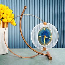 创意玛瑙石钟表摆件客厅玄关家居摆设时钟样板房桌面座钟软装饰品