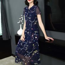雪纺连衣裙长款女2018夏装新款碎花韩版大码中年妈妈装短袖大摆裙