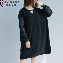 Real spring new fat mm fatten and increase the size of loose knitted lace to reduce the age of 200jin dress