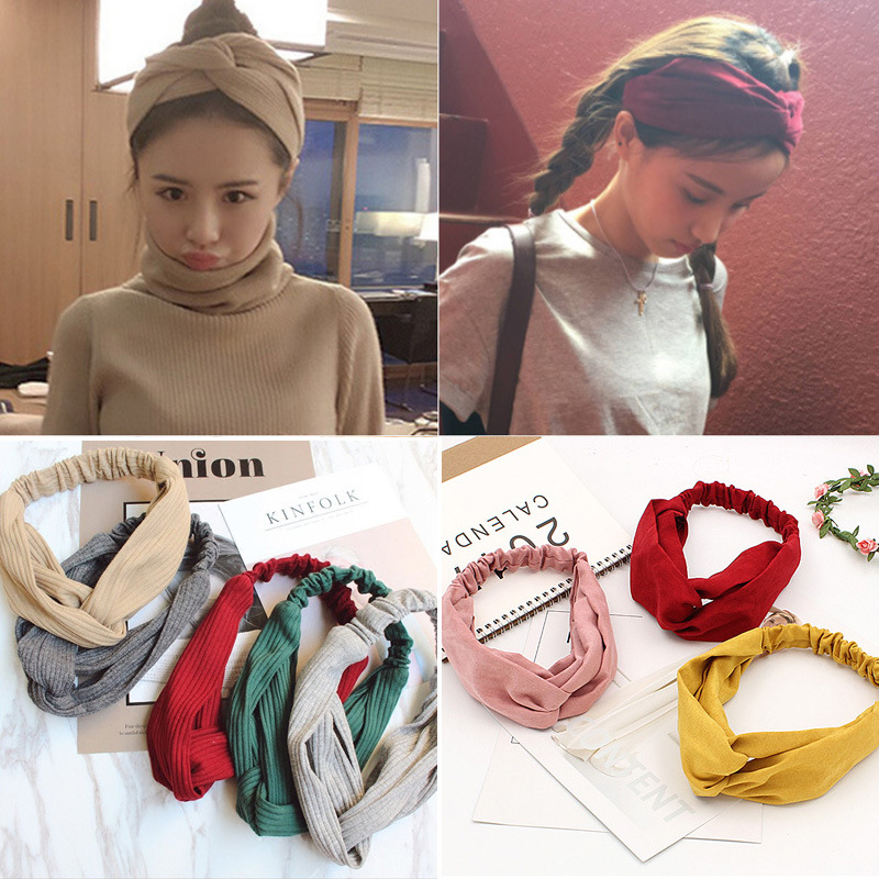 Womens Water Droplet Cross elastic  Cloth Hair Accessories NHOF121143