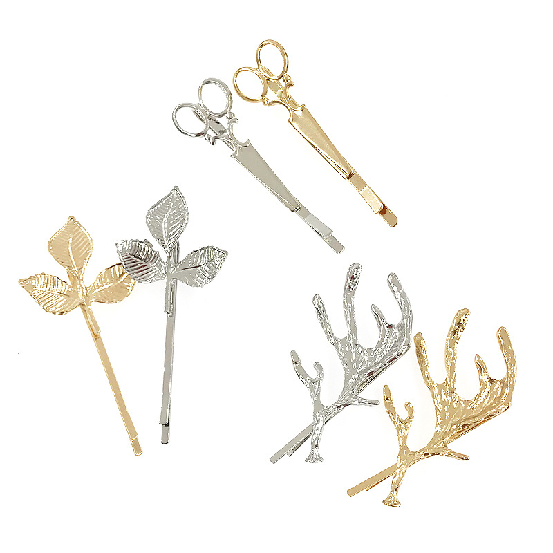 6-piece combination simple metal hair clip geometry alloy edge clip word clip female hair accessories NHDQ205922