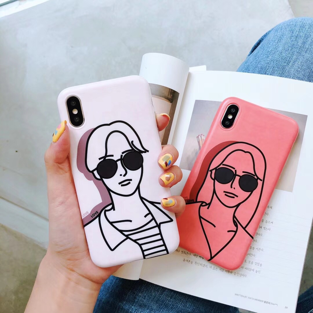 Original sketch IMD boys and girls Apple X mobile phone shell iphone8plus all-inclusive soft shell i7 silicone 6s drop