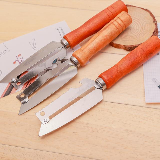 木柄削皮刀 鱼鳞刨 不锈钢多用削皮器 厨房实用工具 厂家直销