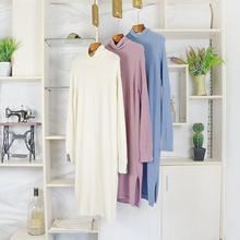 2019春季新款TH韓版原單堆堆領直筒下擺開衩純色毛衣長款連衣裙女
