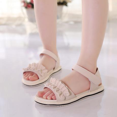 Mùa hè 2019 mới cô gái Hàn Quốc dép trẻ em thời trang công chúa phẳng giày trẻ em hở ngón hoang dã Dép trẻ em