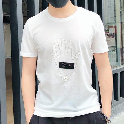 一件代发2018春夏季韩版休闲宽松丝光棉男式t恤 青年纯色圆领短袖