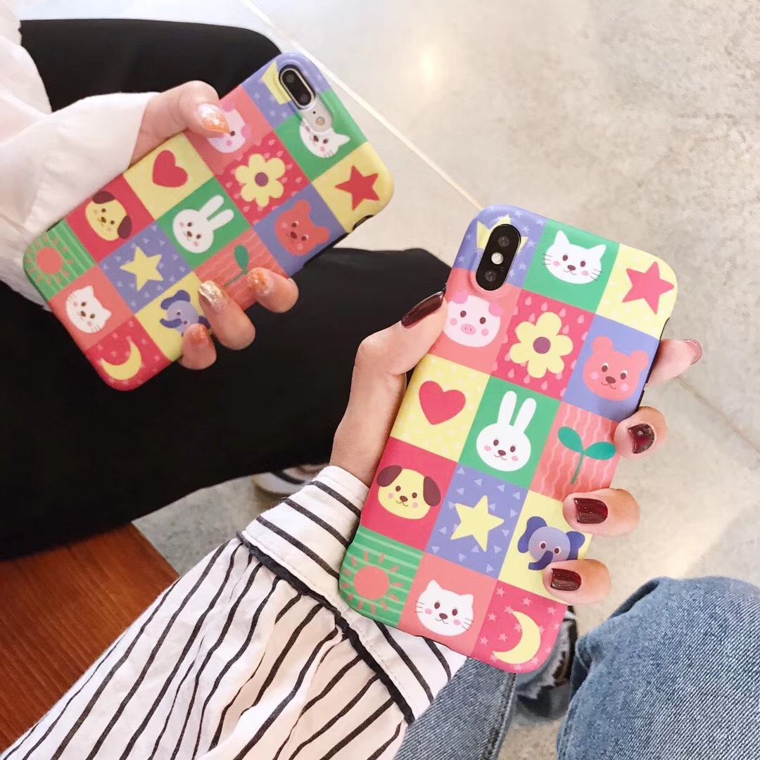 Creative cute kitten iPhone8x mobile phone shell Apple 6s/7plus all-inclusive anti-fall soft bear protective sleeve